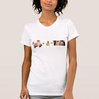 T-shirt T-shirt/porc de femmes + Rouge à lèvres = Sara