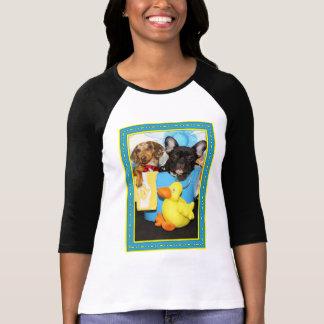 T-shirt Taz et Teal - teckel et bouledogue -3