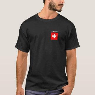 T-shirt Tee-shirt Basic noir avec la croix suisse