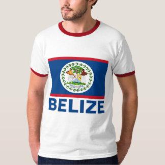 T-shirt Texte bleu personnalisable de drapeau de Belize