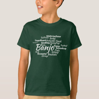 T-shirt Texte de blanc de nuage de mot de banjo