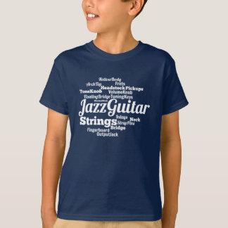 T-shirt Texte de blanc de nuage de mot de guitare de jazz