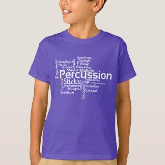 T-shirt Texte de blanc de nuage de mot de percussion