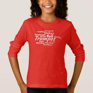 T-shirt Texte de blanc de nuage de mot de trompette