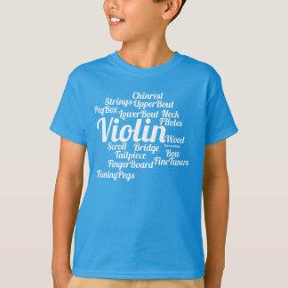 T-shirt Texte de blanc de nuage de mot de violon