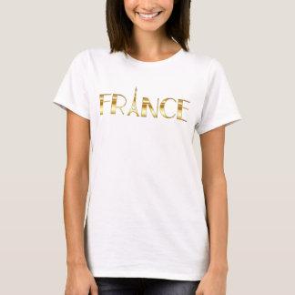 T-shirt Texte et Tour Eiffel d'or de la France