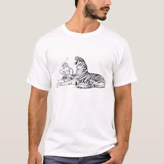 T-shirt Tigre vintage d'illustration avec l'épine