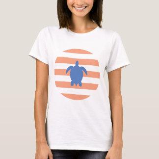 T-shirt Tortue de mer bleue nautique et rayures de corail