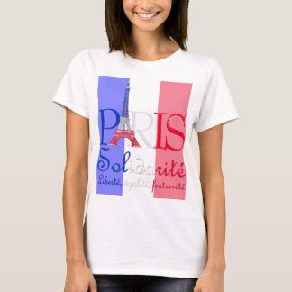 T-shirt Tour Eiffel français Solidarité Liberté de drapeau