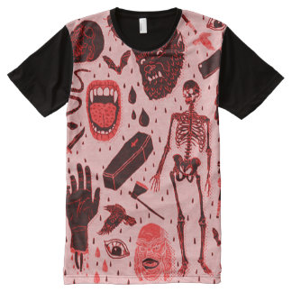 T-shirt Tout Imprimé Art classique déplaisant d'horreur de Halloween