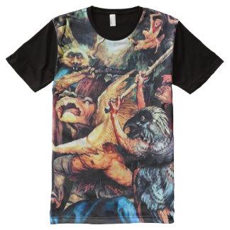 T-shirt Tout Imprimé Art coloré d'aerographe de démons de Cornélius