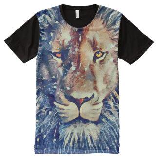 T-shirt Tout Imprimé Art coloré d'aerographe de lion