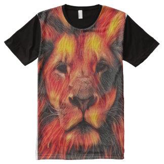 T-shirt Tout Imprimé Art coloré de lion d'aerographe