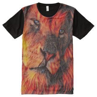 T-shirt Tout Imprimé Art d'aerographe de visage de lion d'imaginaire