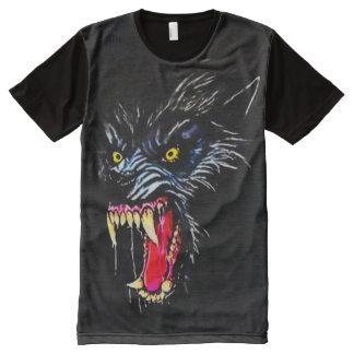 T-shirt Tout Imprimé Art foncé d'aerographe d'horreur de loup-garou