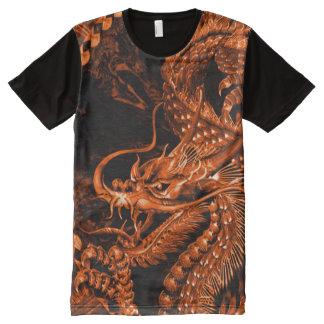 T-shirt Tout Imprimé Coutume chinoise en bronze d'art de dragon