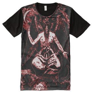 T-shirt Tout Imprimé Dieu antique coloré de sang de Baphomet