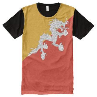 T-shirt Tout Imprimé Drapeau du Bhutan plein