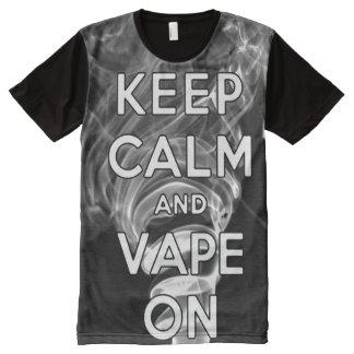 T-shirt Tout Imprimé La qualité gardent le calme et le Vape sur la