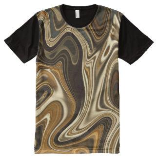 T-shirt Tout Imprimé Style de marbre magnifique - brun chaud