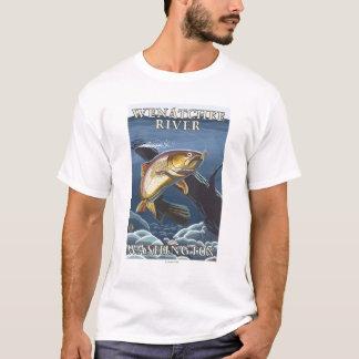 T-shirt Truite pêchant la section transversale - rivière