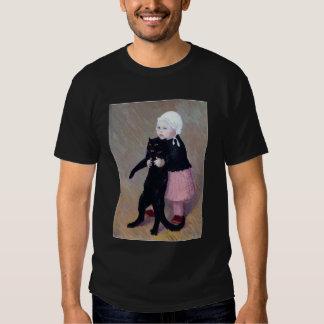 T-shirt : Une petite fille avec un chat par