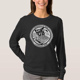 T-shirt Université de longsleeve de dames de joint de noir