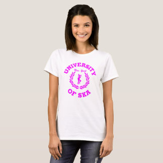 T-shirt Université de rose de dames de Ska New York