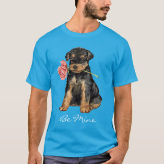 T-shirt Valentine Airedale rose