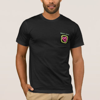 T-shirt van de groene en roze de hart aangepaste