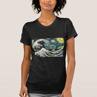 T-shirt Van Gogh la nuit étoilée - Hokusai la grande vague
