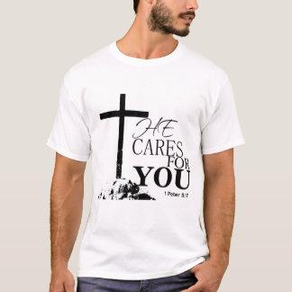 T-shirt Vers de bible qu'il s'occupe de vous pendant 1 5:7