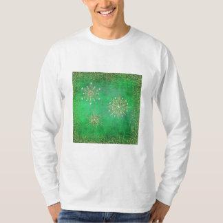 T-shirt Vert de flocons de neige de Noël et scintillement