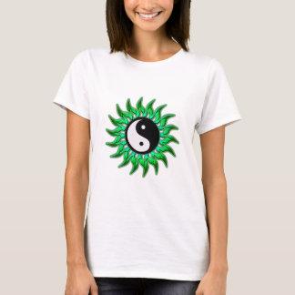 T-shirt Vert vert flambant Yin Yang Sun