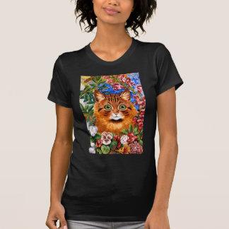 T-shirt vintage de chat de fleur de Louis Wain