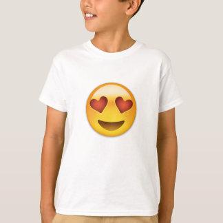 T-shirt Visage de sourire avec les yeux en forme de coeur