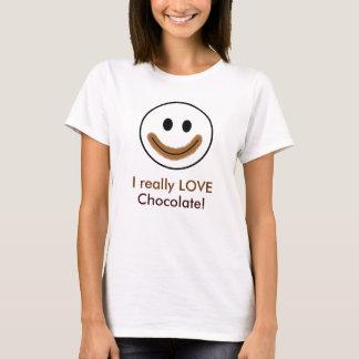 """T-shirt Visage souriant de chocolat """"j'AIME vraiment le"""
