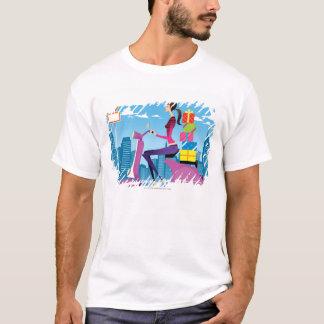 T-shirt Vue de côté de femme avec des cadeaux sur le