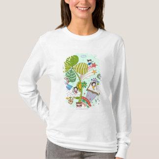 T-shirt Vue de côté des enfants étudiant par le plante mis