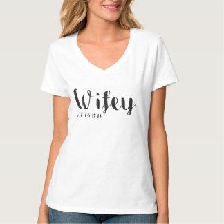 T-shirt Wifey et pièce en t faite sur commande de lune de