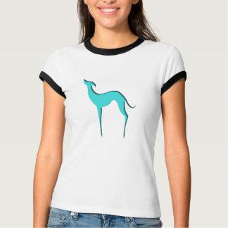 T-shirts bleu de dames de silhouette de