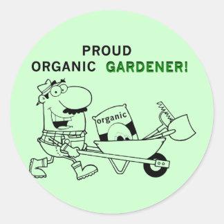 T-shirts et cadeaux organiques fiers de jardinier sticker rond