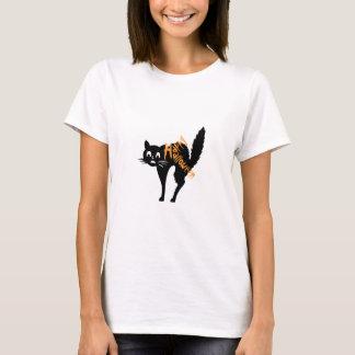T-shirts noir heureux de chat de Fraidy de chaton