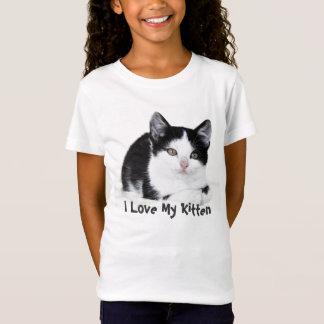 T-shirts réfléchi blanc noir de chaton