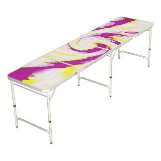 Table Beerpong Abrégé sur blanc jaune rose super remous de TieDye