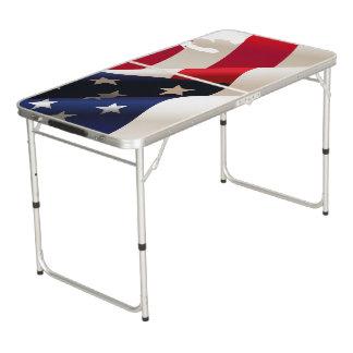 Table Beerpong Drapeau onduleux des Etats-Unis