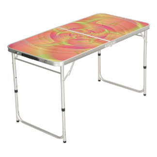 Table Beerpong Klaxons de rotation dans le rose et le jaune