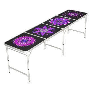 Table Beerpong Tableau géométrique au néon pourpre rose noir de