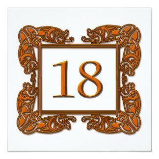 Tableau de cuivre celtique numéro 18 carton d'invitation  13,33 cm