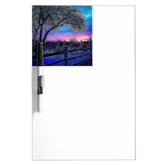Tableau Effaçable À Sec arbres d'hiver de paysage de lever de soleil